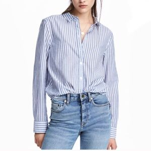 H&M Blue & White Striped Button Down Shirt